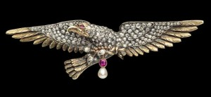 Antique French Diamond Eagle brooch
