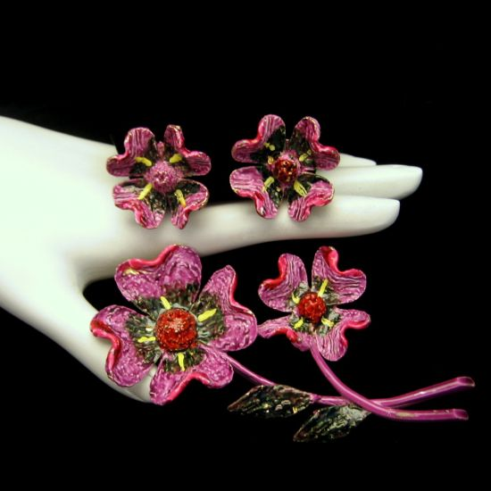 ART Purple Enamel Flowers Brooch and Earrings Set