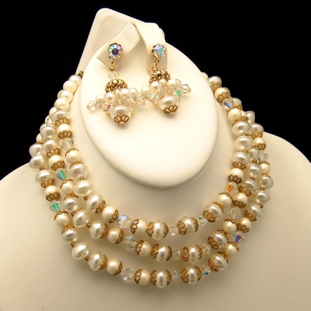 ART Vintage 3 Strand Faux Pearls Crystal Necklace Set from myclassicjewelry.com
