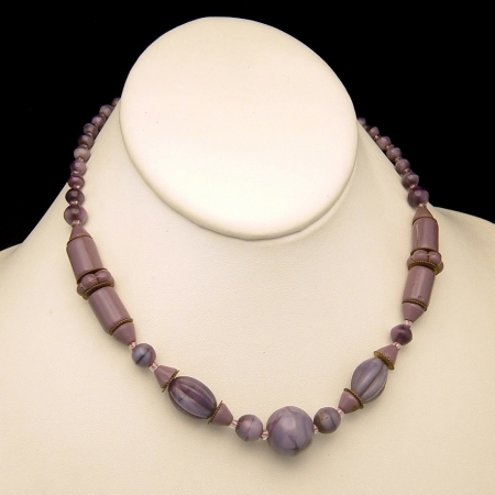 Art Deco Czech Carved Glass Purple Beads Necklace