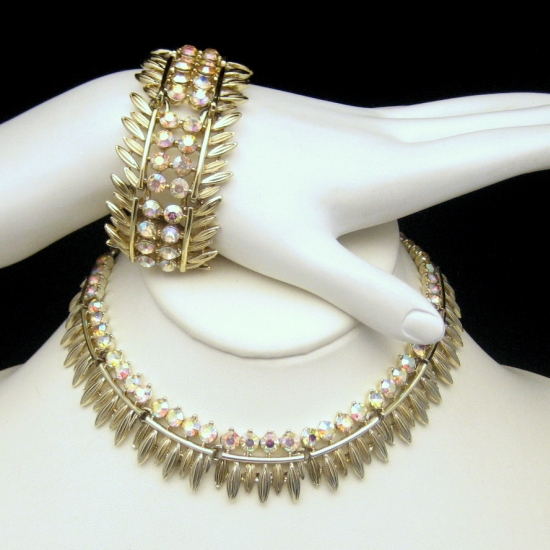 Gorgeous BSK Vintage AB Rhinestones Necklace Bracelet Set from myclassicjewelry.com