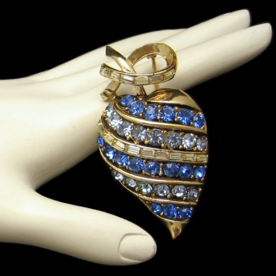 CORO PAT PEND Large Heart Shaped Vintage Blue Rhinestones Brooch from myclassicjewelry.com