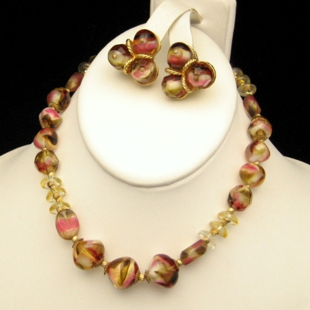 HATTIE CARNEGIE Vintage Art Glass Beads Necklace Earrings Set from myclassicjewelry.com
