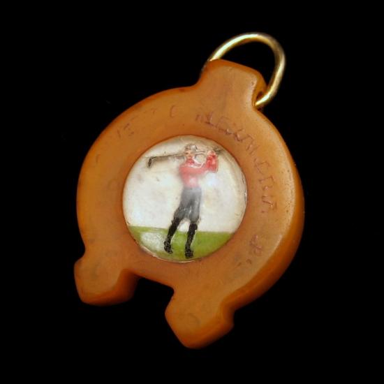 Vintage Bakelite Golfer Fob Charm