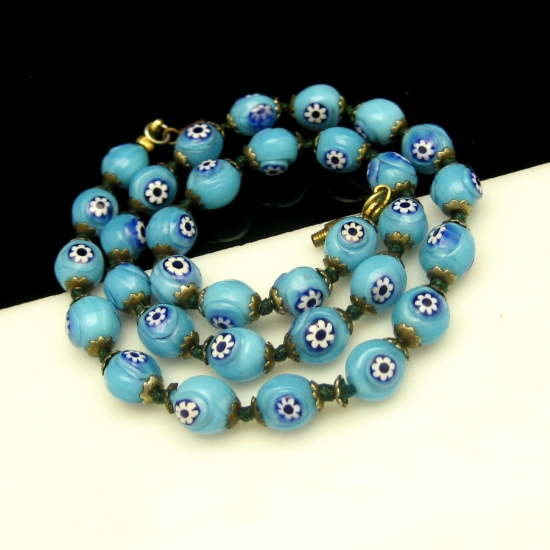 Vintage Millefiori Cane Beads Necklace Rare Aqua Blue Knotted Unique