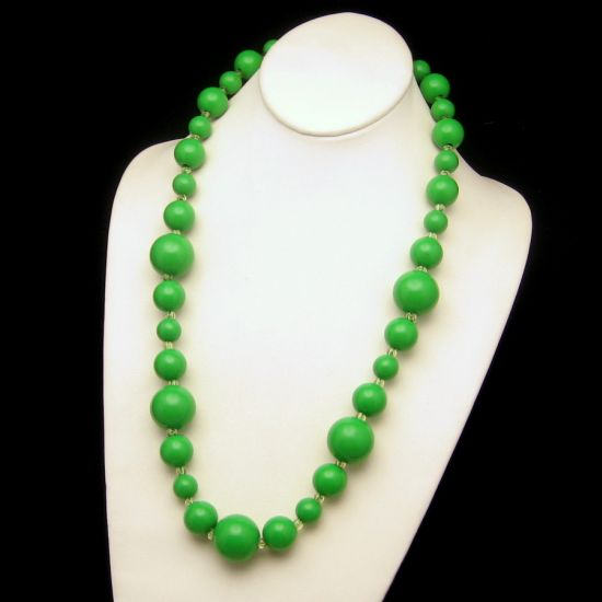 Large green bead necklace