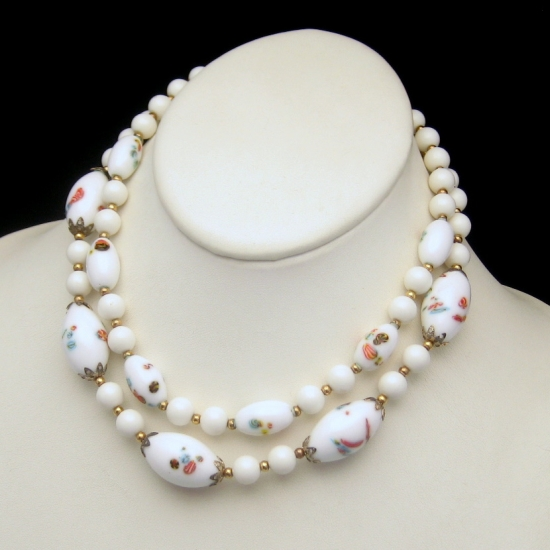 CROWN TRIFARI Vintage 2 Strands White Millefiori Glass Beads Necklace