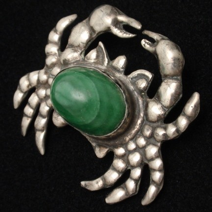 Vintage Mexico Sterling Silver and Malachite Figural Crab Pin from myclassicjewelry.com
