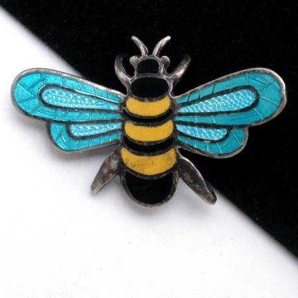 Taxco Vintage Sterling Silver Enamel Bumble Bee Pin from myclassicjewelry.com