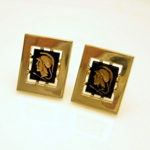 Anson Vintage Mens Cufflinks Cuff Links Black Inset Cameos Roman God Mercury
