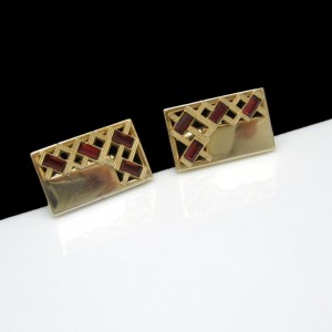 ANSON Vintage Mens Cuff Links Mid Century Red Baguette Rhinestones Goldtone Rectangles Cutout