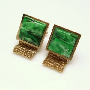 DANTE Vintage Mens Cuff Links Mid Century Mesh Wrap Around Green Swirl Stones Goldtone