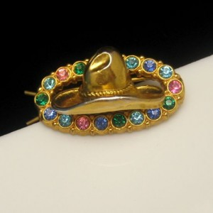 Vintage Hair Barrette Mid Century Cowgirl Cowboy Hat Colored Rhinestones Pink Blue Green