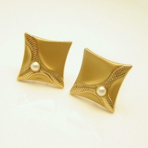 Vintage Cuff Links Mid Century Faux Pearls Mens Dress Brushed Goldtone Elegant