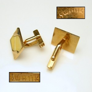 SWANK Vintage Mens Cuff Links Mid Century Faux Mother of Pearl MOP Swirls Gold Plated Shiny