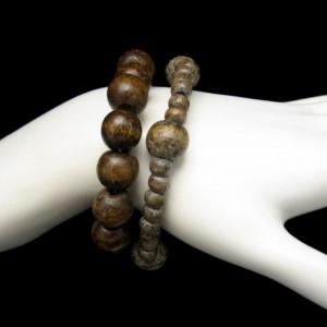 2 Chunky Vintage Bracelets Mid Century Mod Brown Wood Beads Stretch Nice Mottled Colors