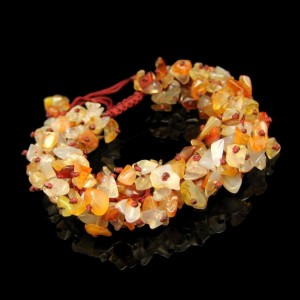 Vintage Bracelet Mid Century Agate Chips Beads Wide Chunky Boho Nice Colors Adjustable