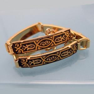 DAMASCENE Vintage Bracelet Mid Century Large Rectangle Fish Links Nice Detail
