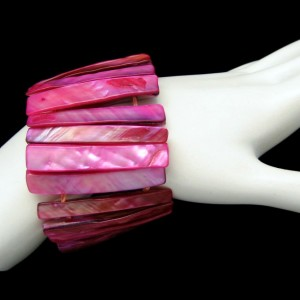 Vintage Cuff Bangle Bracelet Mid Century Dyed Mother of Pearl Fuchsia Extra Wide Very Unique