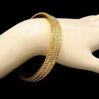 Vintage Bangle Bracelet Mid Century 3 Rows Channel Set Rhinestones Wide Gold Plated Elegant