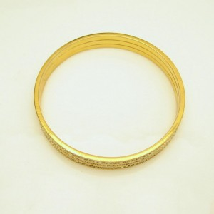 Vintage Bangle Bracelet Mid Century 3 Rows Channel Set Rhinestones Wide Gold Plated Elegant