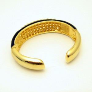 Vintage Wide Bangle Bracelet Mid Century Black Enamel Rhinestones Hinged Glamorous