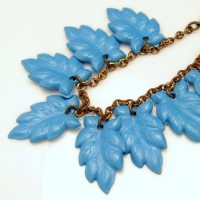 Mid Century Vintage 1950s Charm Bracelet Blue CELLULOID Leaves Large Dangles Statement