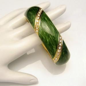 Mid Century Bangle Bracelet Green Enamel Rhinestones Wide Vintage Hinged Gold Plated