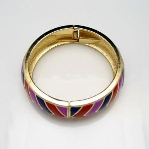 Vintage Bangle Bracelet Mid Century Red Purple Blue Enamel Stripes Wide Hinged High Quality