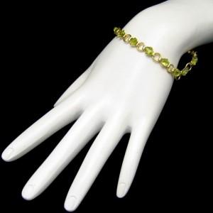 Vintage Bracelet Mid Century Green Glass Stones Rhinestone Statement Open Goldtone Links