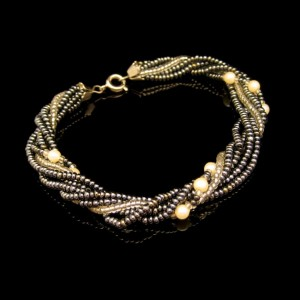 Vintage Bracelet Mid Century Glass Beads Faux Pearls 6 Multi Strand 8 inch