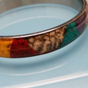 Vintage Lucite Bangle Bracelet Mid Century Patchwork Design Colorful Vinyl or Fabric Unique