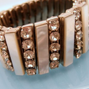 Vintage Expansion Bracelet Mid Century Mother of Pearl Rhinestones Prong Set Unique 5 Rows Wide Chunky