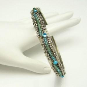 Vintage Bangle Bracelet Mid Century Aqua Rhinestones Green Glass Beads Silver Plated