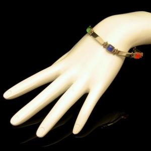 Vintage Boho Bracelet Mid Century Colored Art Glass Stones Long Panel Links Red Green Blue Purple