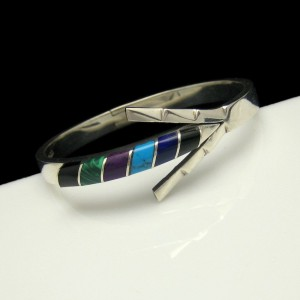 TAXCO MEXICO 925 Sterling Silver Hinged Arrow Bangle Bracelet Inlay Gemstones