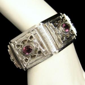 Whiting Davis Silver Plated Engraved Wide Vintage Bracelet Purple Rhinestones