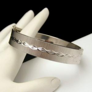 WEST GERMANY Vintage Bangle Bracelet Mid Century Scored Etched Hinged Solid