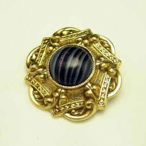 1928 Vintage Brooch Pin Mid Century Blue Striped Art Glass Stone Aventurine Striking