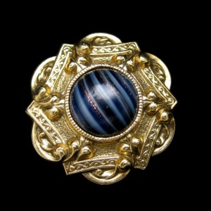 1928 Vintage Brooch Pin Mid Century Blue Striped Art Glass Stone Aventurine Striking