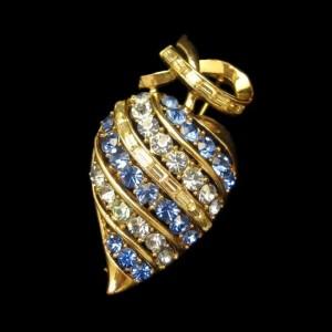 CORO PAT PEND Vintage Brooch Pin Mid Century Large Blue Rhinestones Apple Heart