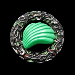 Vintage Brooch Pin Nouveau Style Large Black Glass Circle Green Shell