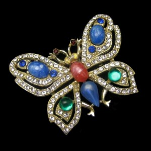 Vintage Rhinestone Butterfly Brooch Pin Mid Century Large Glass Stones Blue Green Pink Figural