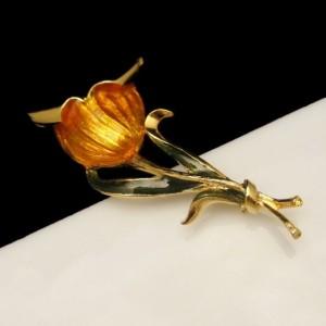 Vintage Flower Brooch Pin Mid Century Enamel Huge Bright Yellow Gold Orange Green