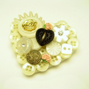 Large Vintage Heart Brooch Pin Mid Century Pretty Applied Buttons Roses Hearts Rhinestones