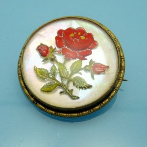 Victorian Encased Lucite Red Rose Flower Brooch Pin Mother of Pearl Vintage Romantic