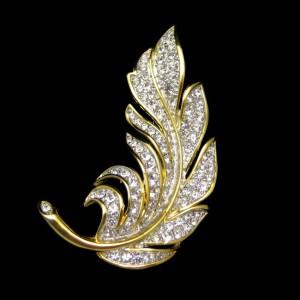 Mid Century Two Tone Rhinestones Large Leaf Vintage Brooch Pin NOS Sparkling Realistic Design