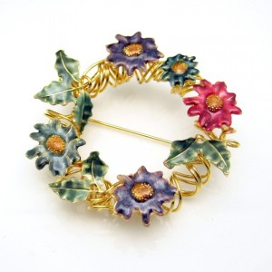 Vintage Wreath Brooch Pin Large Mid Century Colored Enamel Flowers Spiraled Goldtone Unique