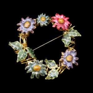 Vintage Wreath Brooch Pin Large Mid Century Colored Enamel Flowers Spiraled Goldtone Unique