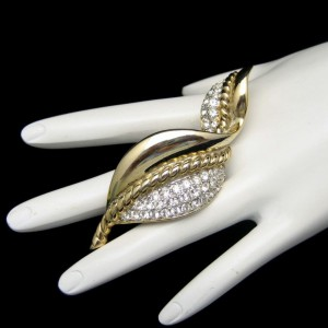 GEM CRAFT Vintage Brooch Pin Mid Century Rhinestones Extra Large Curved Leaf